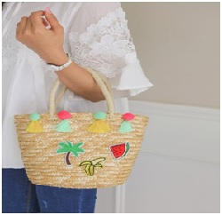 Pom Palm Tree Ribbed Bag