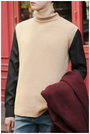 Vent Turtleneck Knit Vest